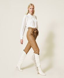 """Coated fabric carrot fit trousers """"Rum"""" Brown Woman 212TP2021-03"""