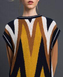 Maxi pull multicolore en laine et mohair Chevrons Bleu Nuit Femme 192ST3111-04