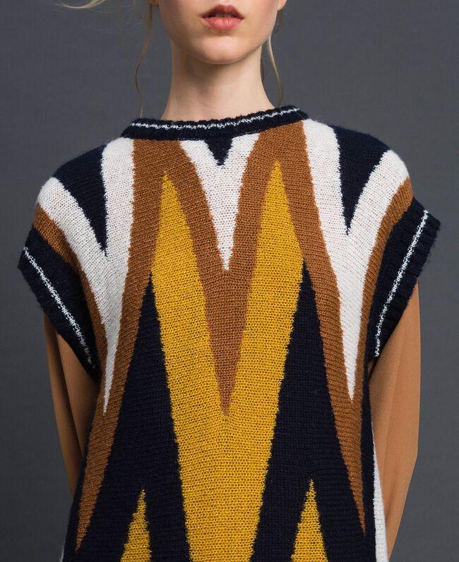 Multicolour wool and mohair maxi jumper Night Blue Chevron Woman 192ST3111-04