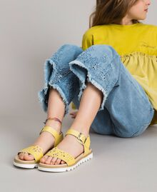 "Leather sandals with embroidery ""Bamboo"" Yellow Child 191GCJ170-0S"