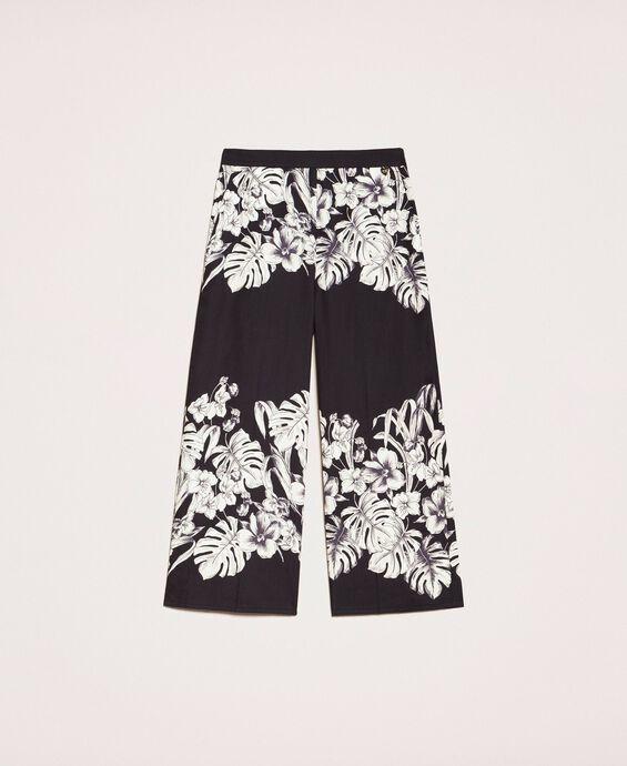 Pantalon cropped en popeline florale