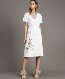 Leather skirt with patch embroidery White Snow Woman 191TT2172-01