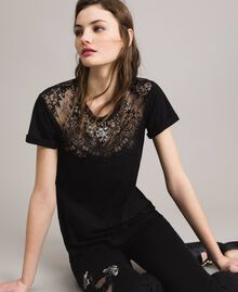 Lace and rhinestones T-shirt Black Woman 191TP2603-01