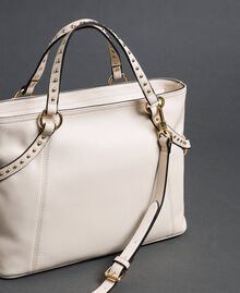 Faux leather shopping bag with studs White Snow Woman 192TO8160-03