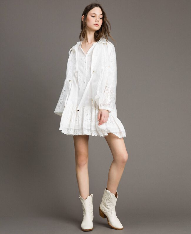 Waxed fabric and lace parka White Woman 191MT2100-0T