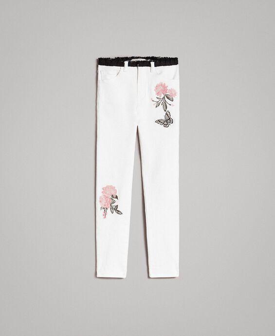Pantaloni skinny in bull con ricami