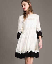 "Georgette dress with lace Bicolour ""Snow"" White / Black Woman 191TT2102-02"