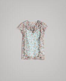 Georgette-Oberteil mit Blumenmuster Motiv Aquamarin Bouquet Frau 191TP2570-0S