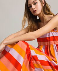 Multicolour stripe poplin long dress