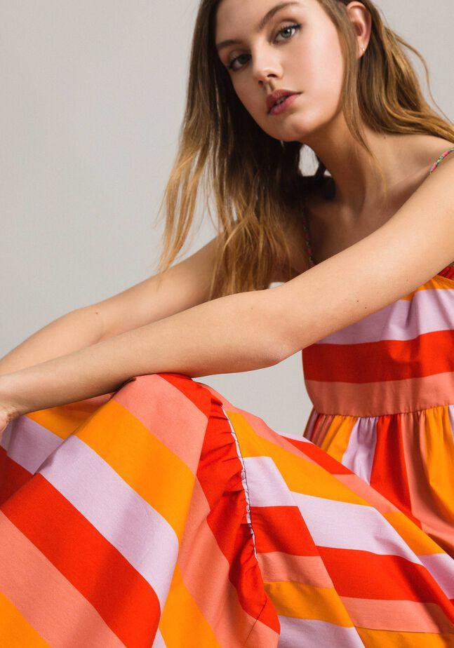 Multicolour stripe poplin long dress