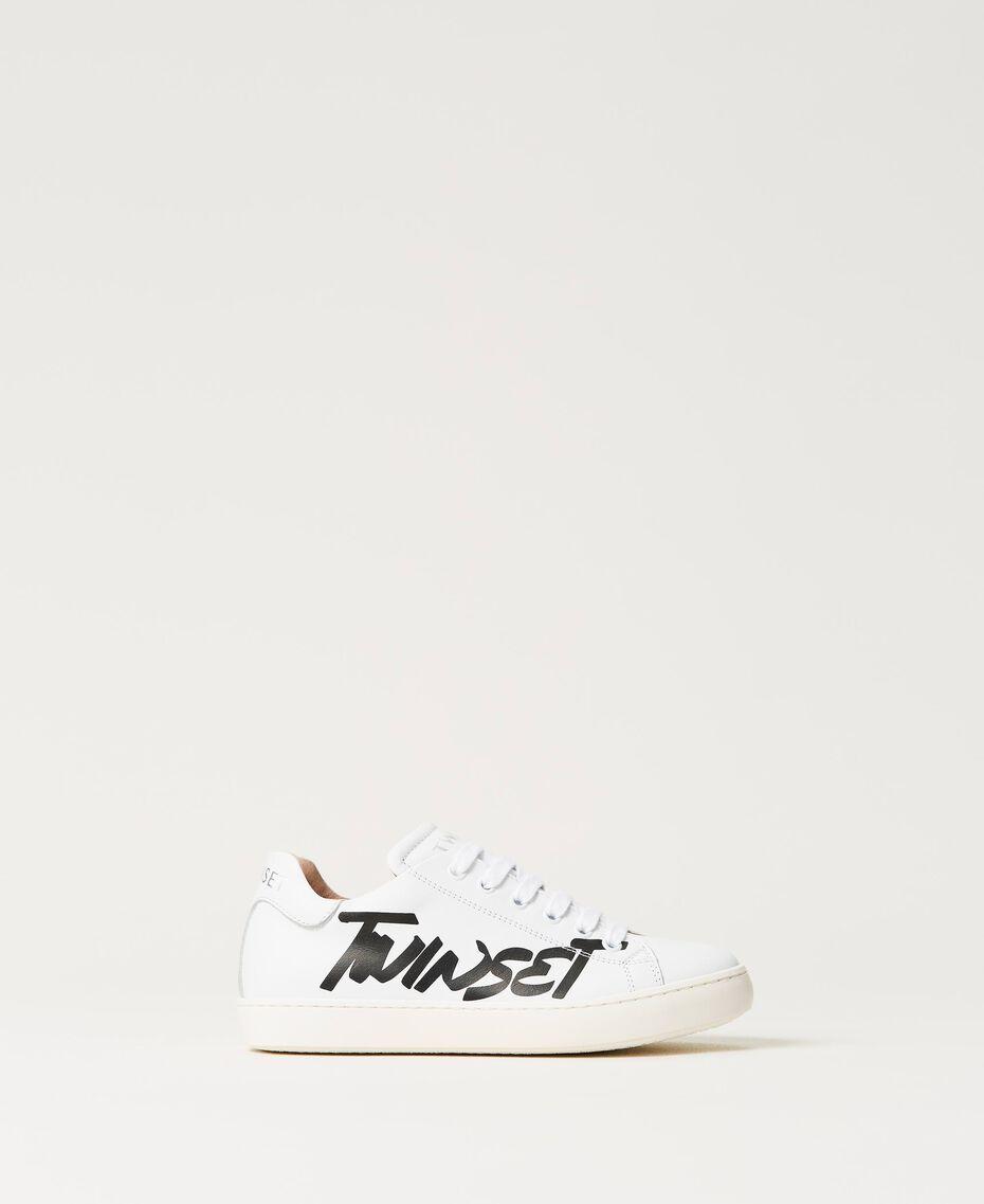 Sneakers aus Leder mit Logo Mattweiß Kind 211GCJ050-03