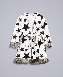 Fleece dressing gown with print Black / Off White Star Print Child GA828B-01