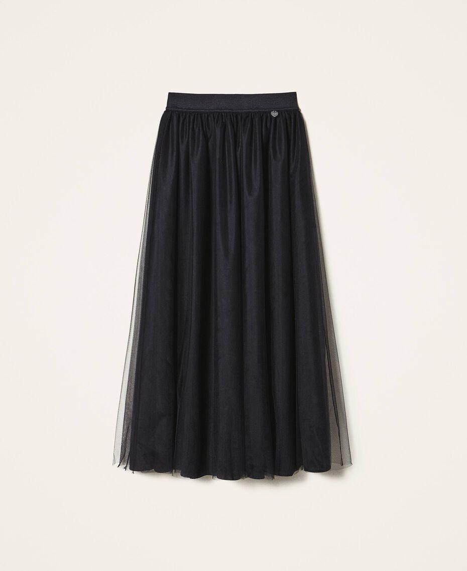 Jupe longue en tulle Noir Femme 202TP239A-0S