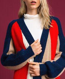 Maxicárdigan en mezcla de lana y alpaca Rojo «Coral» / Azul / Beige Mujer 192MT3073-04