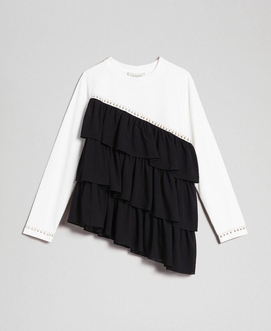 T-shirt avec volants asymétriques et clous Blanc / Noir Enfant 192GJ2116-0S