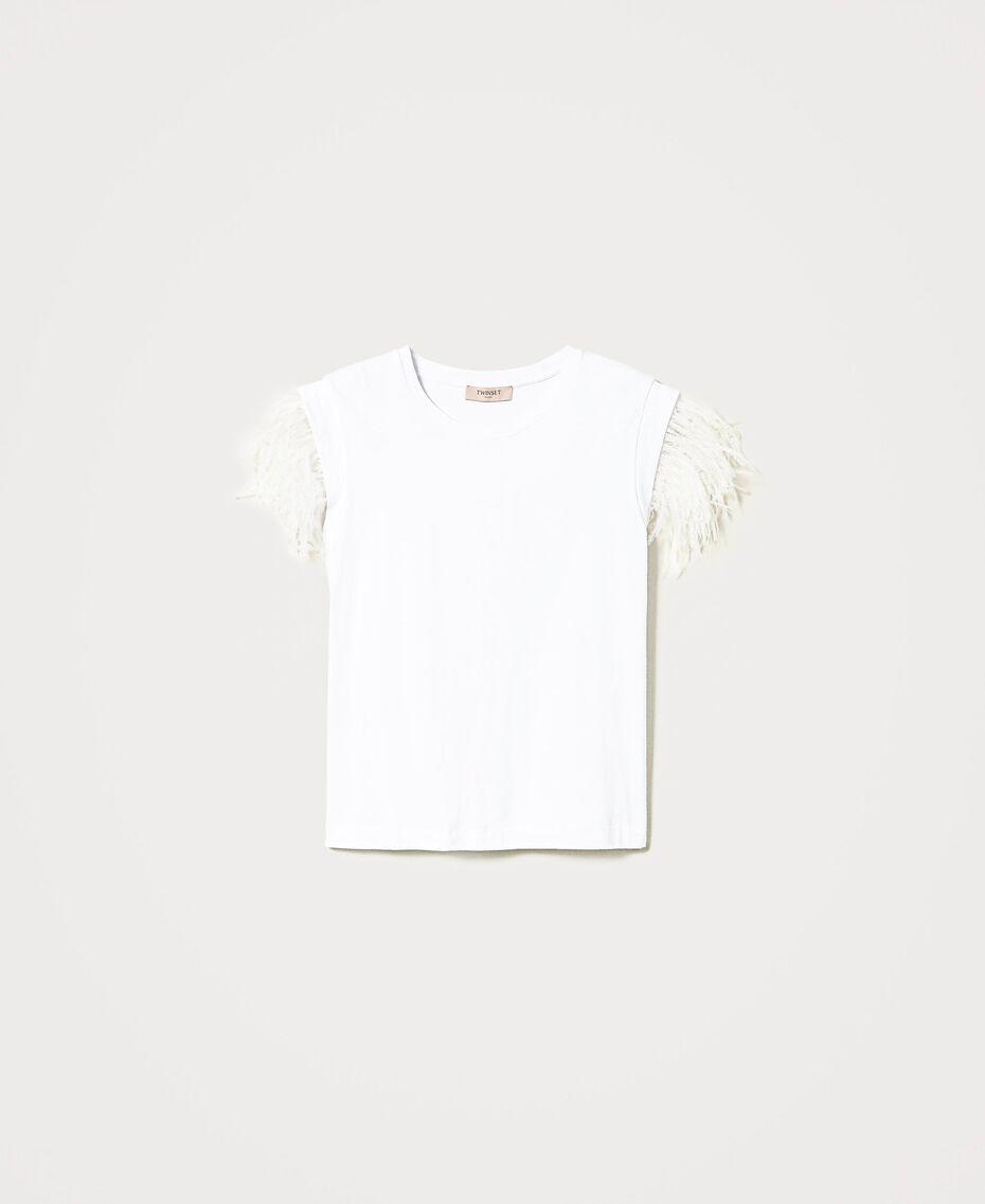 T-Shirt mit Federn Weiß Frau 211TT2420-0S