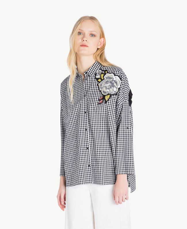 Gingham shirt Two-tone Optical White / Black Gingham Woman JS82EP-04