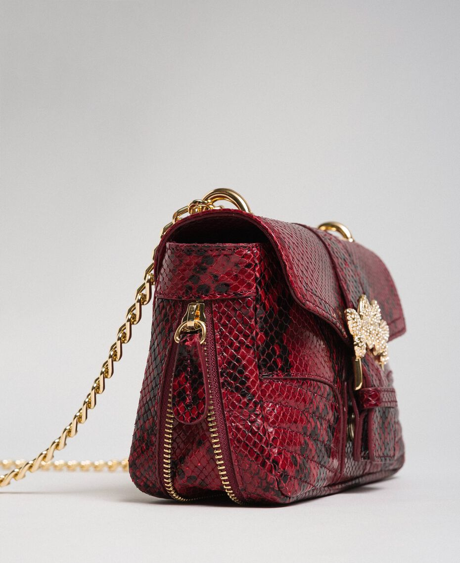 Маленькая сумка через плечо Rebel с питоновым принтом Питоновый Принт Красная Свекла женщина 192TO7231-02