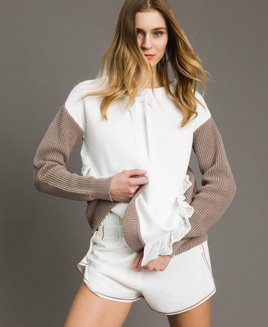 """Maxi maglia con volants Bicolore Bianco Ottico / Grigio """"Grey Dust"""" Donna 191LL37LL-01"""