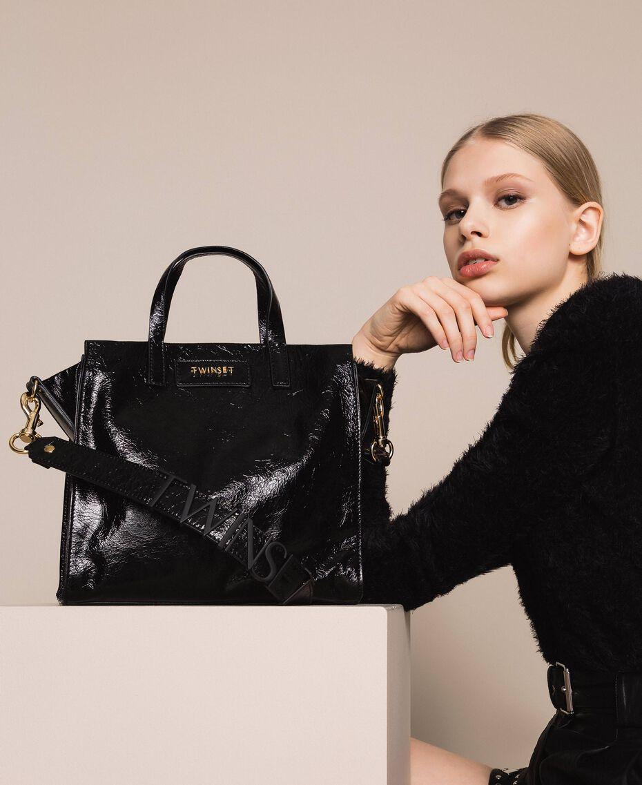 Cabas moyen en cuir avec logo Jaune Lime Femme 201TO8091-0S