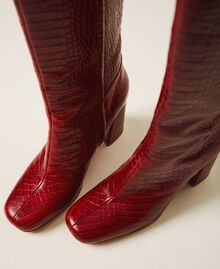 """Leather boots with crocodile print """"Peach Blossom"""" Pink Croc Print Woman 202TCP07C-02"""