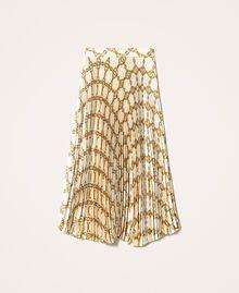 Jupe plissée avec imprimé de chaînes Imprimé Grande Chaîne Ivoire / Or Femme 202TT2212-0S