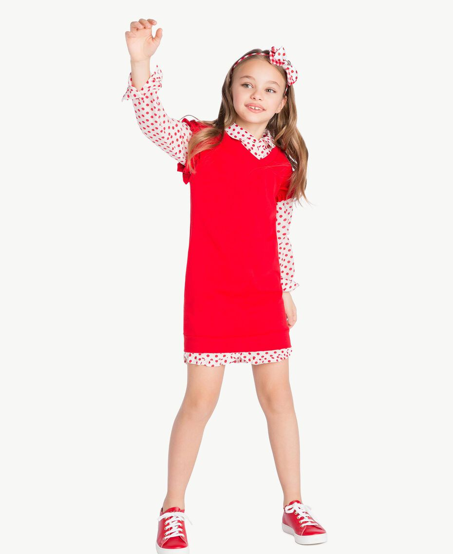 "Polka dot tunic ""Papyrus"" White Polka Dot Print / Pomegranate Red Child GS82PP-06"