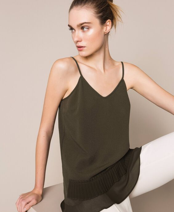 Crêpe de Chine top with pleated flounce