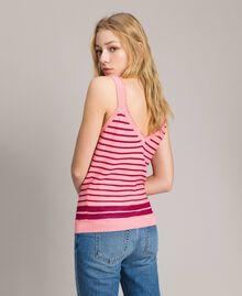 "Viscose and lurex striped top ""Wild Rose"" Pink / ""Anemone"" Fuchsia Lurex Striping Woman 191TP3234-03"