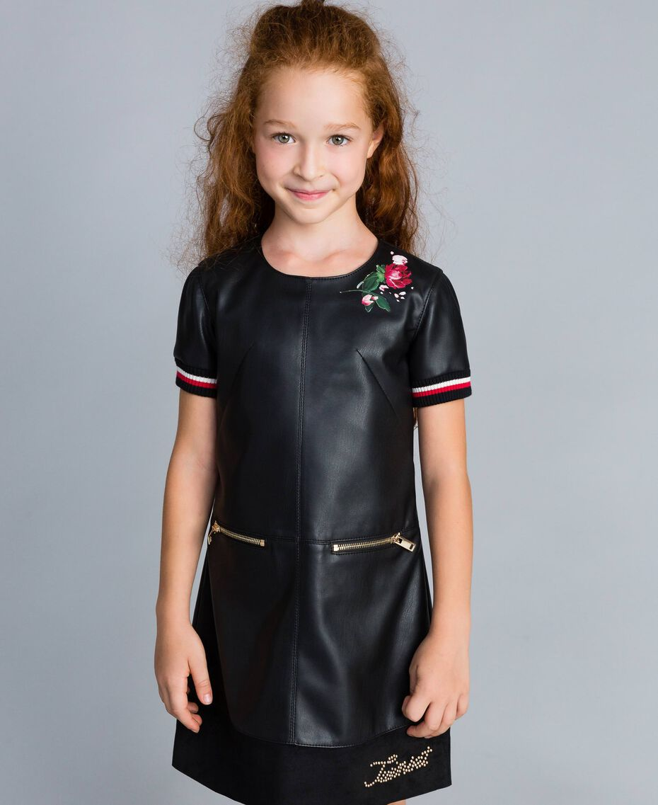 "Embroidered faux leather mini dress Bicolour Black / ""Poppy"" Red Child GA82B2-0S"