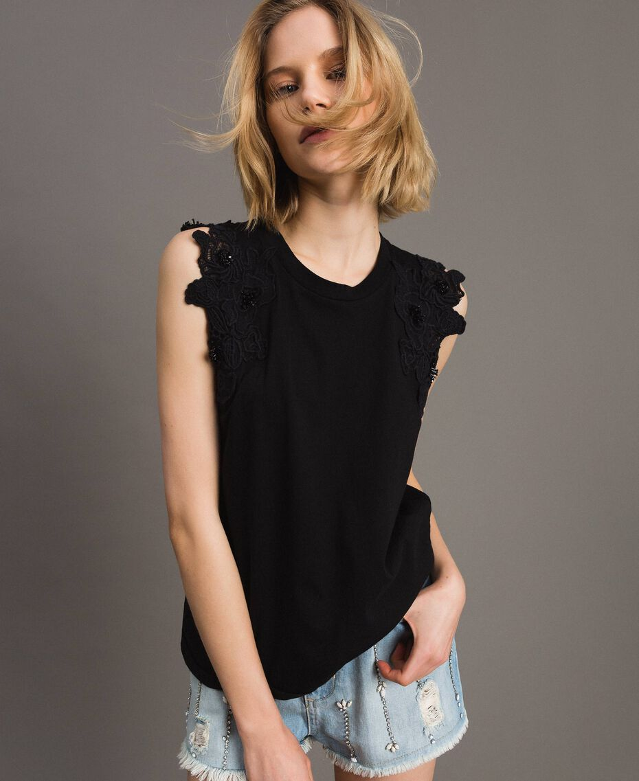 Tank top with floral patch White Woman 191TT2201-02