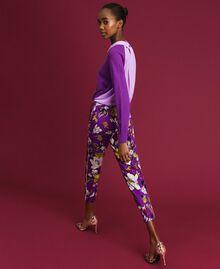 Pantalon cigarette avec imprimé floral Imprimé Fleurs d'Automne Violet Femme 192ST2224-01