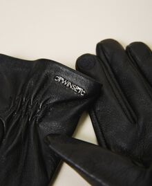Leather gloves with studs and bezels Black Woman 202TA4351-02