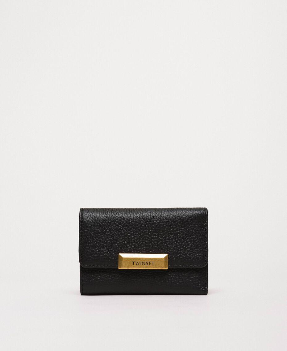 Mittelgroße Bea Bag Geldbörse aus Leder Schwarz Frau 201TA7033-02