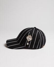 Casquette de baseball avec broche Rayures Noir / Lys Femme 192MA4350-01