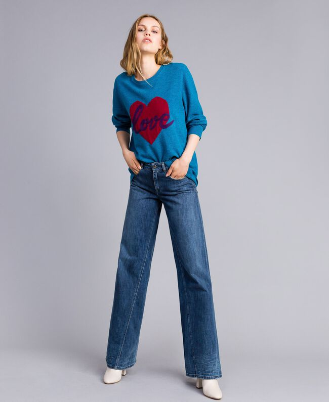 Wool blend maxi jumper with heart Octane Blue Needle Punch Embroidery Woman TA83JF-04