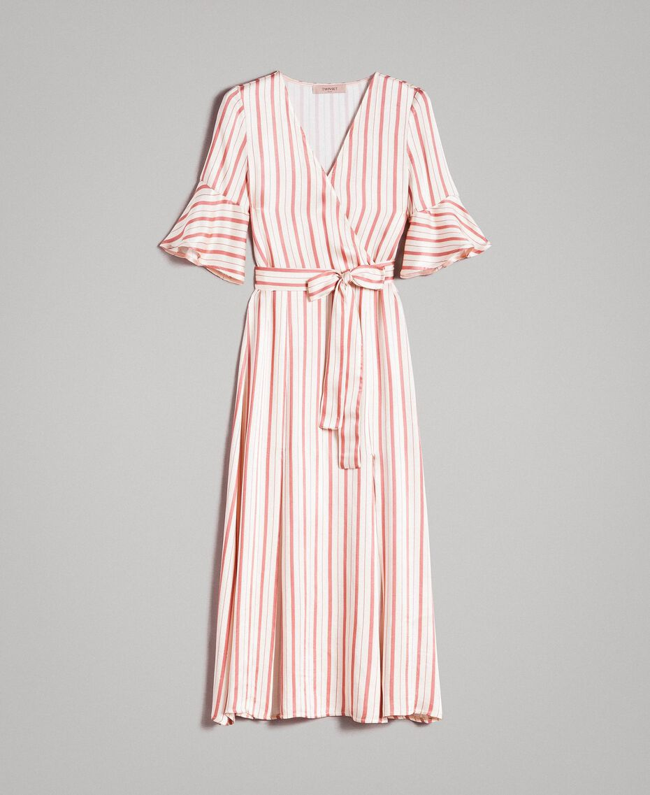 Striped satin wrap dress Pearl Pink Striping Woman 191TP2459-0S