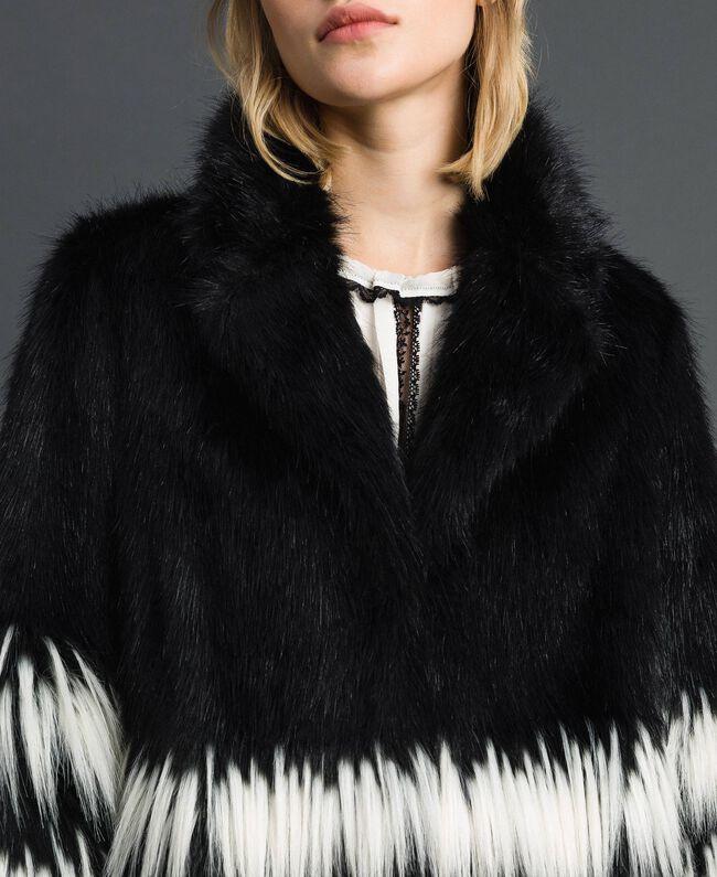 Two-tone faux fur jacket Black Woman 192TP2391-04