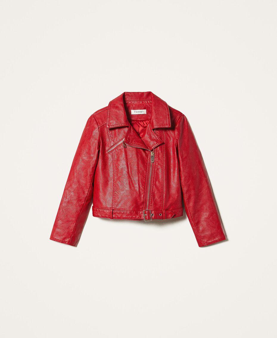Cazadora biker de piel sintética Rojo Cereza Niño 202GJ2240-0S