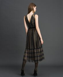 Кружевное платье-миди с люрексом Черный женщина 192TT2361-03