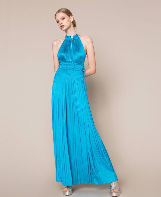 Pleated satin long dress