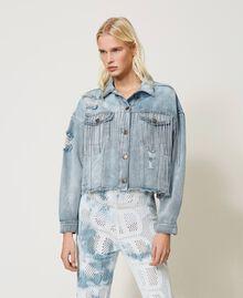 Blouson en jean avec franges en chatons Denim Femme 211TT2380-01
