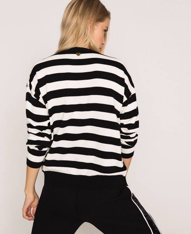 "Full sequin striped jumper Black / ""Snow"" White Stripes Woman 201TP3172-04"