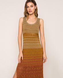 Vestido largo de tejido de lúrex de rayas Rayas Multicolor Oro Mujer 201TT3091-02