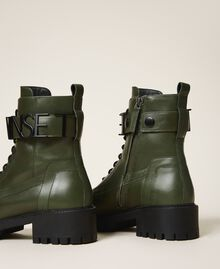 Combat boots with lettering logo Dark Olive Green Woman 202TCP03G-04