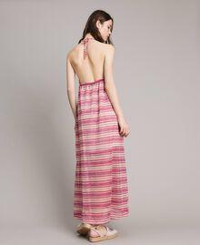 """Abito lungo a righe lurex Riga Multicolor Pink / Rosa """"Tangerine Cream"""" Donna 191LB2AFF-03"""