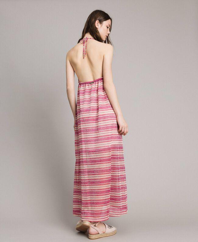 """Robe longue avec rayures lurex Rayures Multicolores Rose / Rose """"Crème De Tangerine"""" Femme 191LB2AFF-03"""