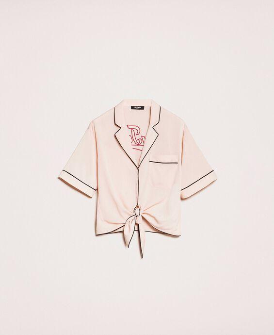 Crêpe de Chine cropped shirt