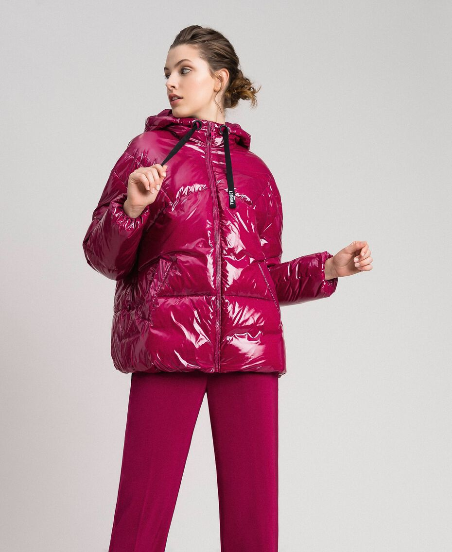 Short quilted puffer jacket with real down Beet Red Woman 192TP2500-02