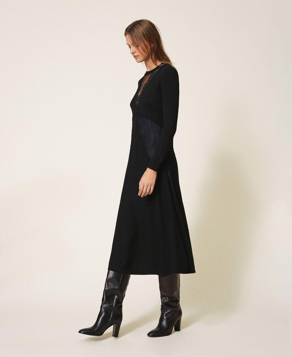Robe en laine mélangée avec dentelle Noir Femme 202TT3130-02